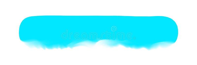 Banda blu-chiaro dipinta in acquerello su fondo bianco pulito, colpi blu della spazzola dell'acquerello, pennello dell'illustrazi illustrazione di stock