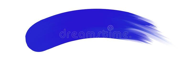 Banda blu dipinta in acquerello su fondo bianco pulito, colpi blu della spazzola dell'acquerello, morbidezza digitale del pennell illustrazione vettoriale