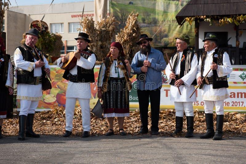 Banda che esegue musica folk rumena in costumi tradizionali immagine stock libera da diritti