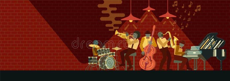 Banda de CorneJazz del instrumento de Musicial que juega en piano, el saxofón, el doble-bajo, el cucurucho y los tambores de los  stock de ilustración