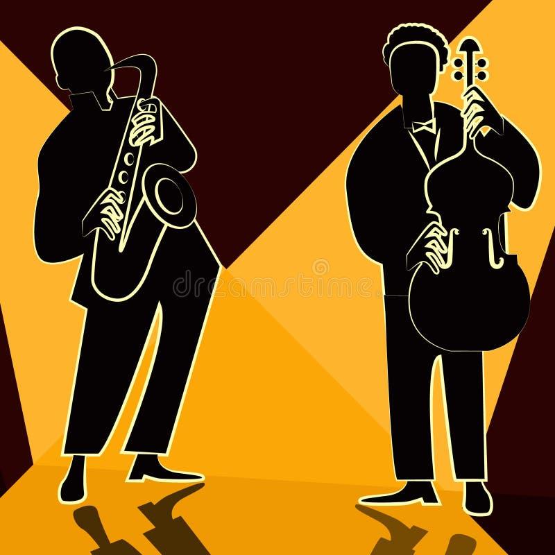 Banda de jazz con el cantante, saxofón ilustración del vector