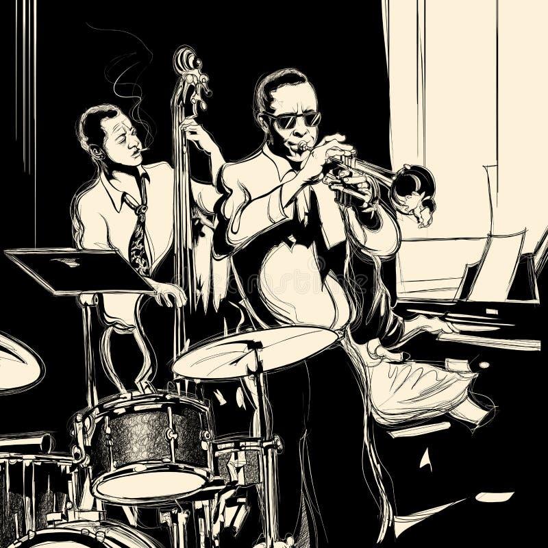 Banda de jazz con el piano y el tambor de la trompeta del doble-bajo stock de ilustración