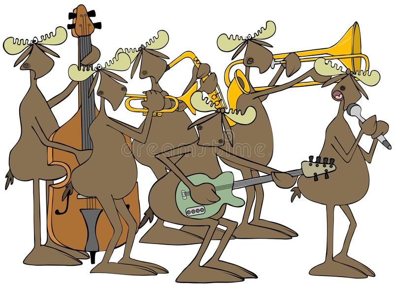 Banda de jazz de los alces de Bull ilustración del vector