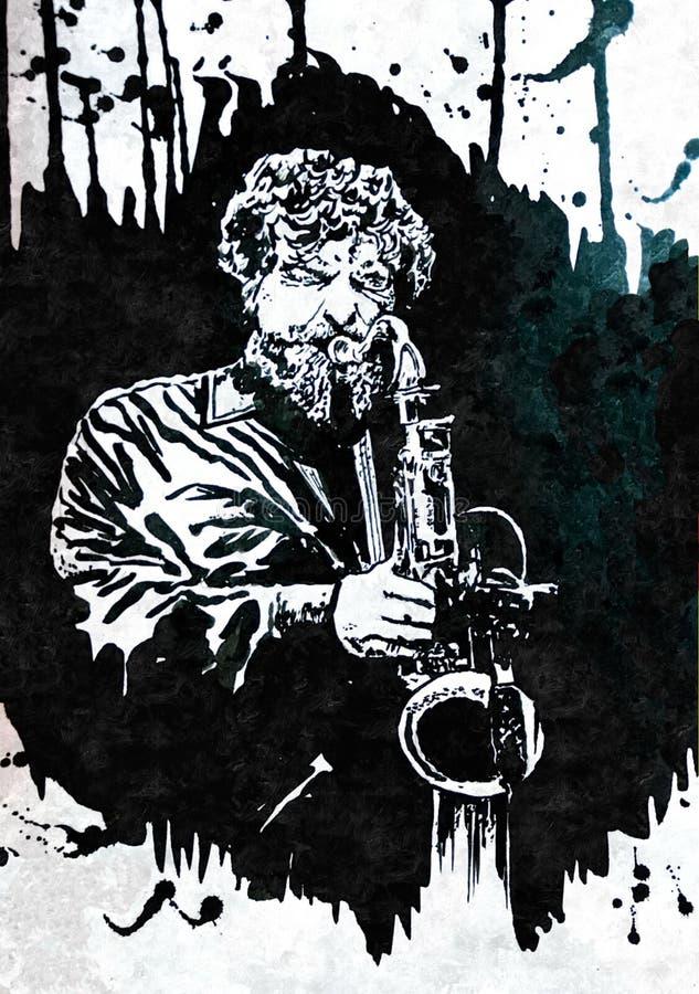 Banda de Jazz del saxofonista Jazz Swing Orchestra siluetas Celebran a Jazz Day It internacional anualmente el 30 de abril ilustración del vector