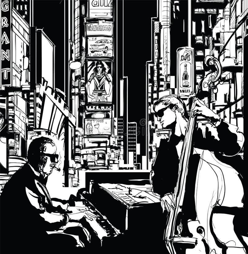 Banda de jazz en Nueva York stock de ilustración