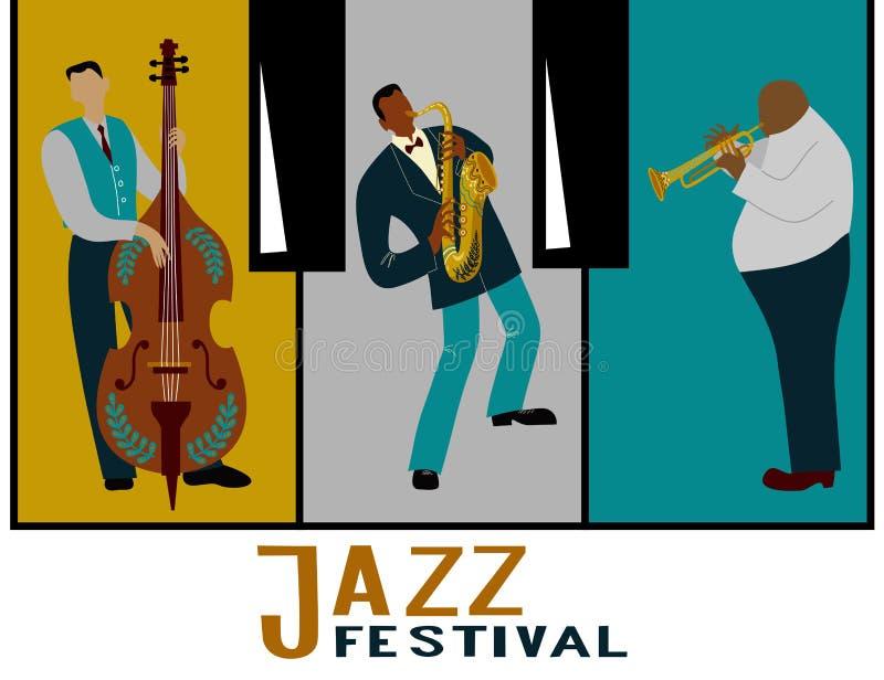 Banda de jazz en un fondo decorativo bajo la forma de llaves del piano Músicos que tocan los instrumentos ilustración del vector