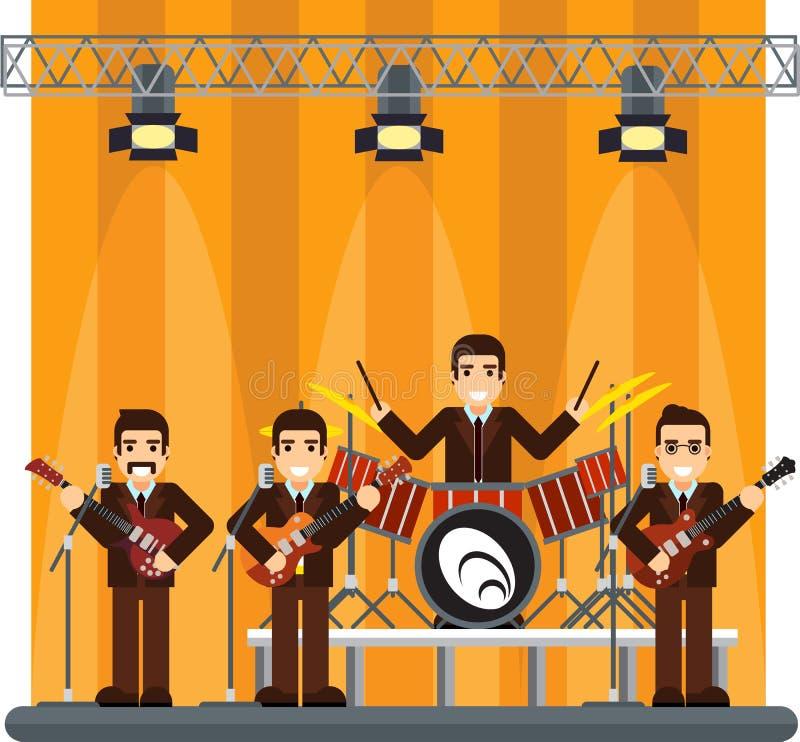 Banda de la música en etapa demostración del funcionamiento stock de ilustración
