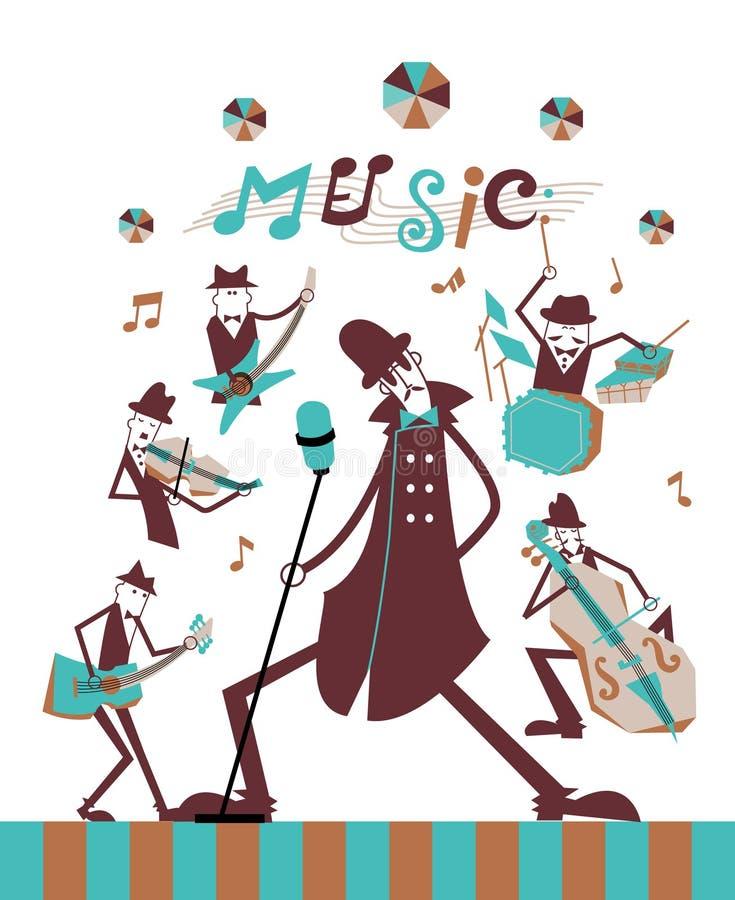 Banda de la música en la etapa stock de ilustración