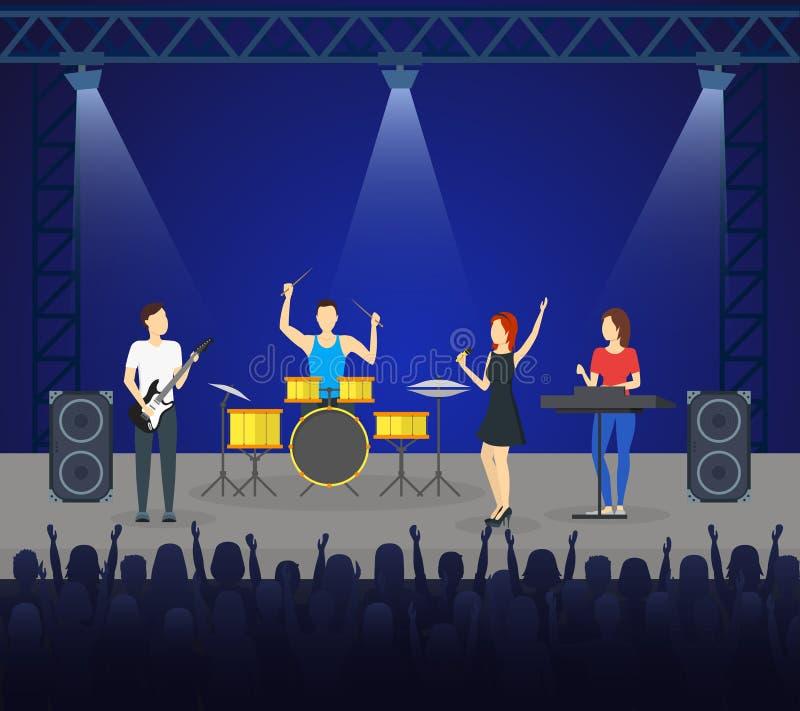 Banda de la música de la historieta en el cartel de la tarjeta de la etapa Vector ilustración del vector