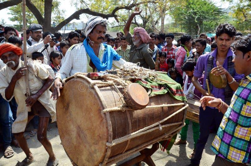 Banda de la tribu de Bhil foto de archivo