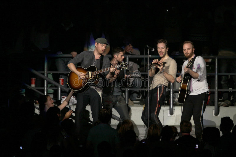 Banda de rock británica Coldplay imagen de archivo