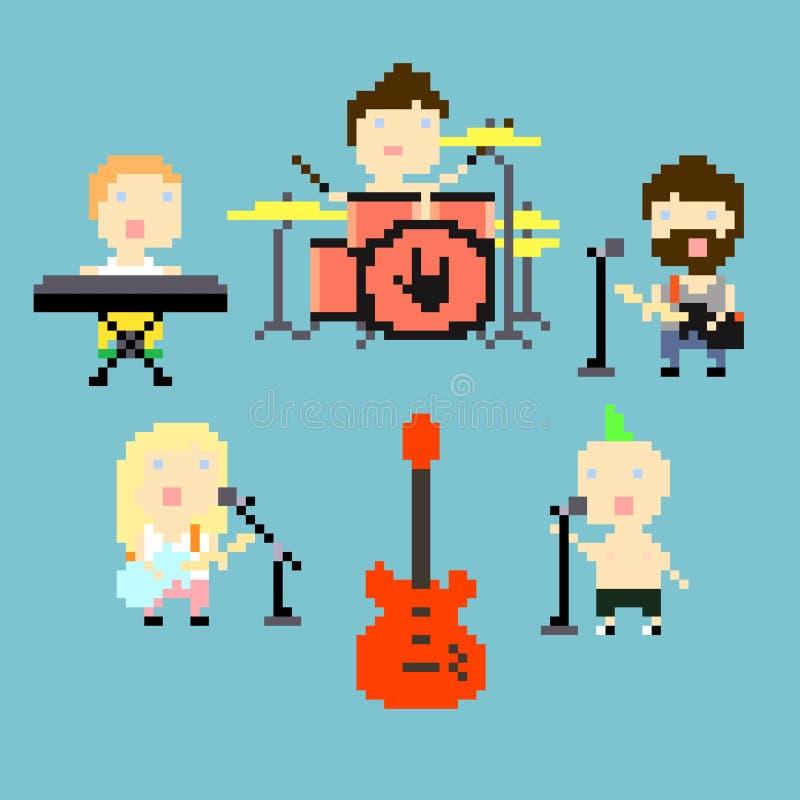 Banda de rock del pixel libre illustration