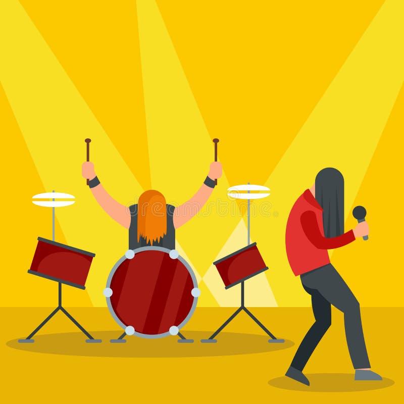 Banda de rock en el icono del concierto, estilo plano ilustración del vector