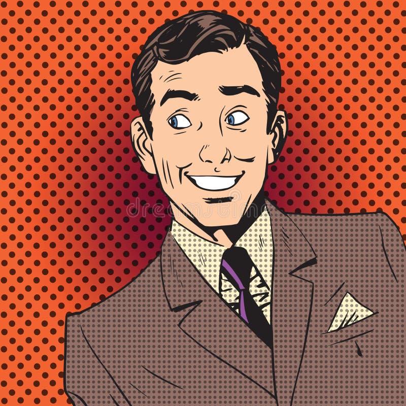 Banda desenhada de sorriso do pop art do artista do anfitrião do homem de negócios do homem feliz ilustração do vetor