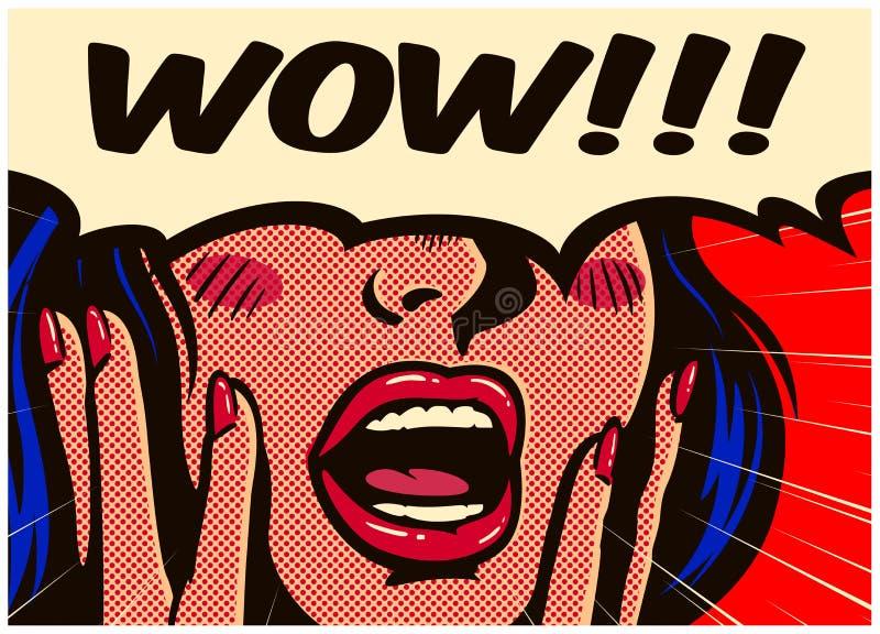 Banda desenhada do pop art do vintage surpreendida e mulher entusiasmado que diz uau com ilustração aberta do vetor da boca ilustração stock