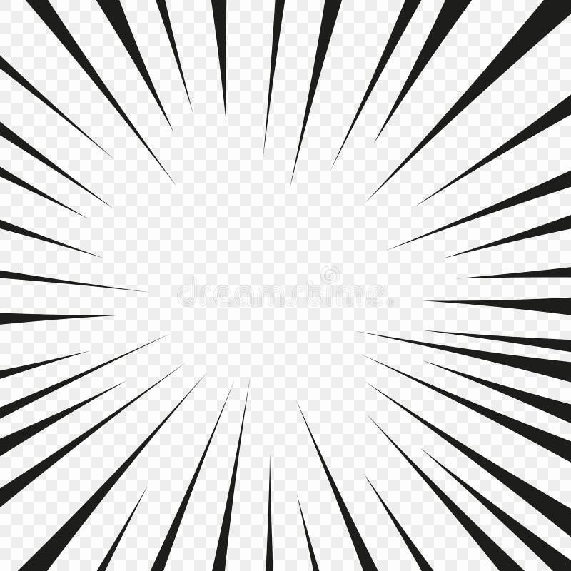 Banda desenhada a linha radial da explosão instantânea no fundo isolado transparente Fulgor instantâneo da explosão do raio super ilustração do vetor