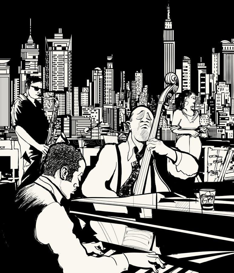 Banda di jazz che gioca a New York illustrazione di stock
