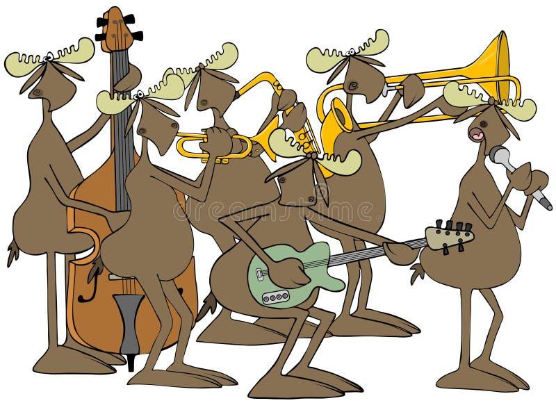 Banda di jazz delle alci del toro illustrazione vettoriale