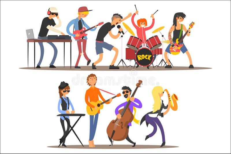 Banda di musica che eseguono in scena, musicisti che cantano e che giocano l'illustrazione di vettore del fumetto degli strumenti royalty illustrazione gratis