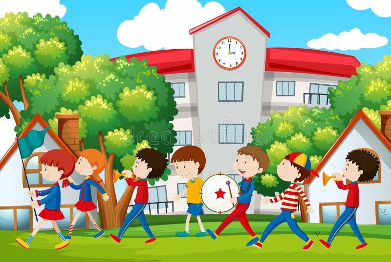 Banda di scuola che marcia davanti alla scuola illustrazione vettoriale