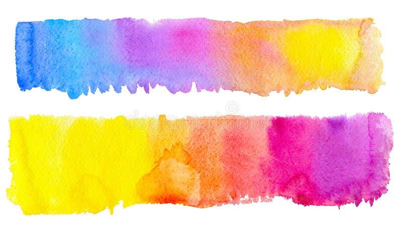 Banda disegnata a mano della spazzola di due arcobaleni dell'acquerello per creare la vostra progettazione immagini stock