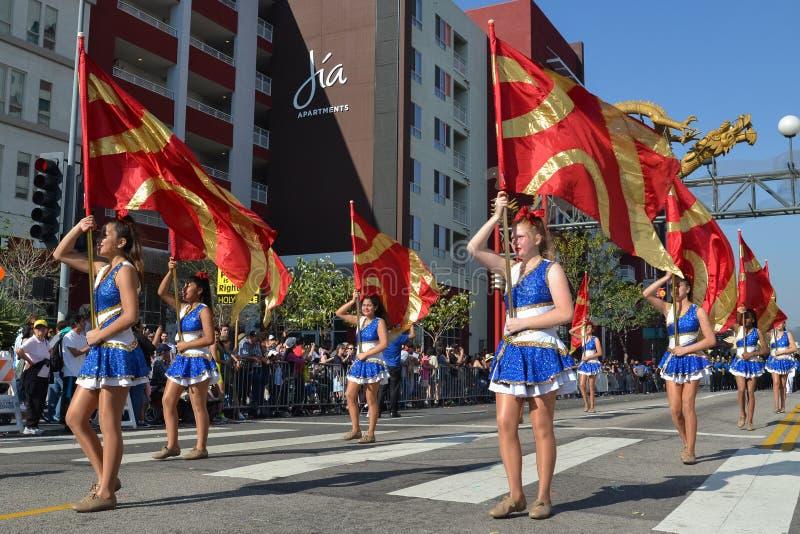 Banda durante 117o Dragon Parade de oro imagenes de archivo