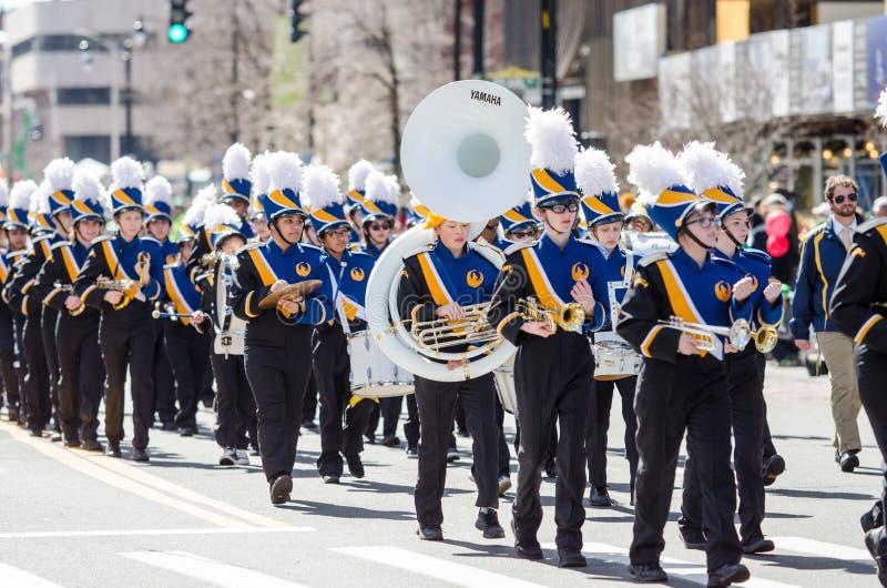 Banda en el desfile en América imágenes de archivo libres de regalías