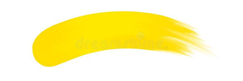 Banda gialla dipinta in acquerello su fondo bianco pulito, colpi gialli della spazzola dell'acquerello, pennello dell'illustrazio illustrazione vettoriale