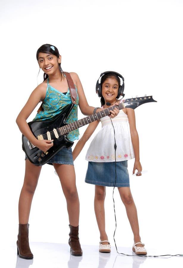 Banda indiana di musica dei bambini fotografia stock