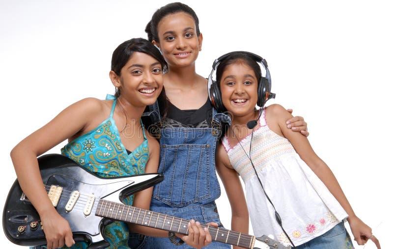 Banda indiana di musica dei bambini immagine stock libera da diritti