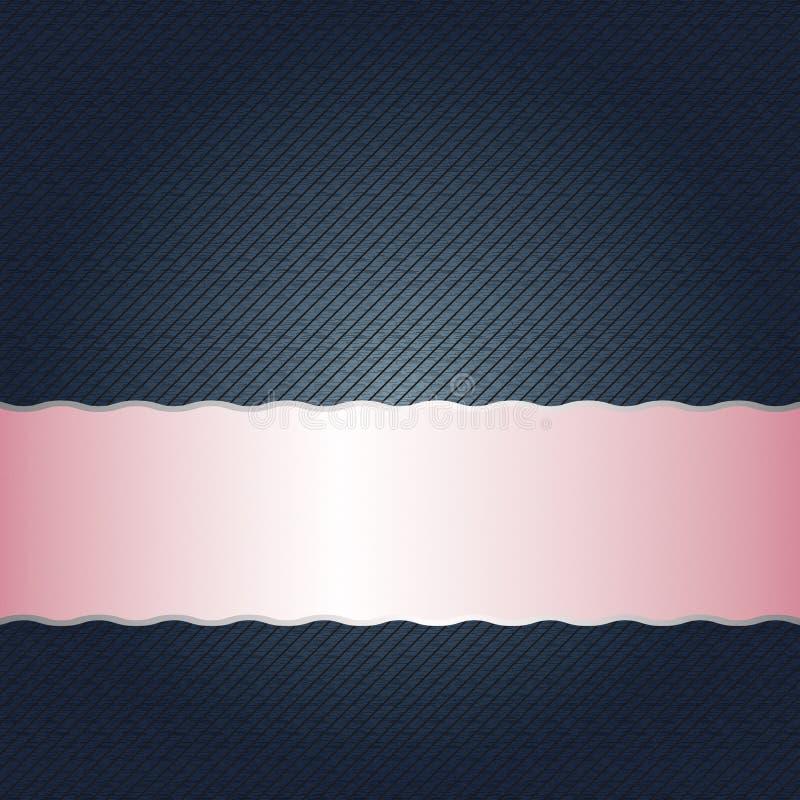 Banda metálica rosada brillante vacía en fondo azul marino con textura diagonal inconsútil de las rayas libre illustration