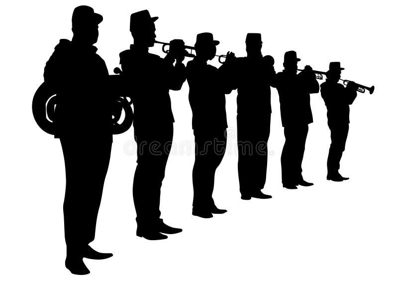 Banda militar cuatro stock de ilustración