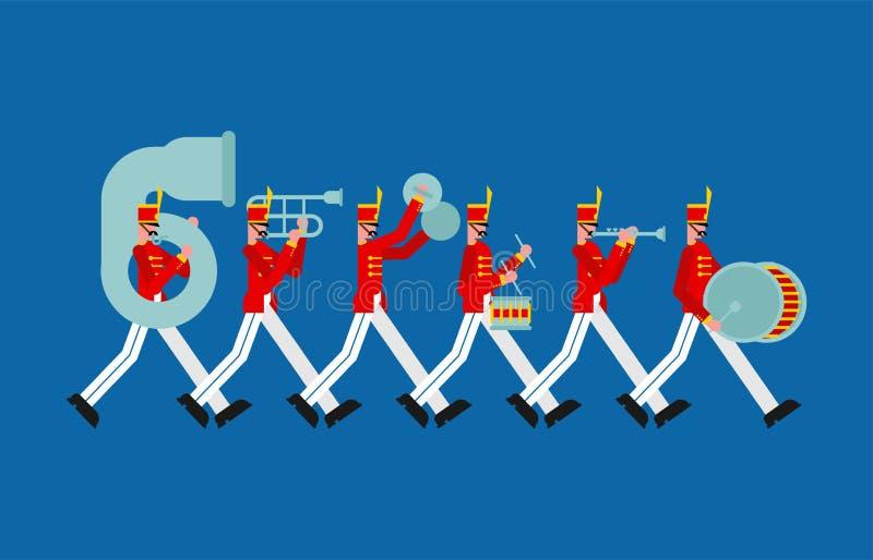 Banda militar Soldados con los instrumentos musicales hombre alistado y tambor ilustración del vector