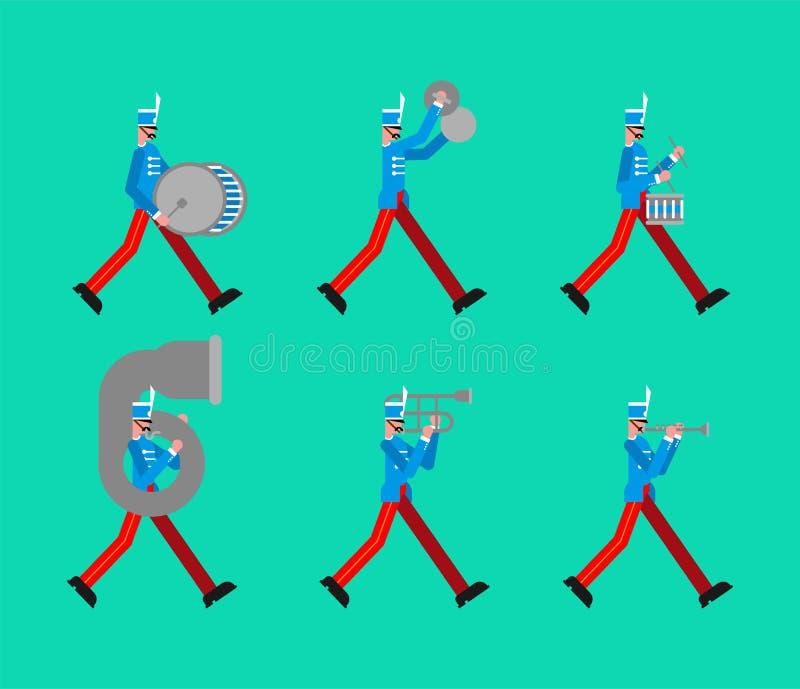 Banda militar Soldados con los instrumentos musicales hombre alistado y tambor stock de ilustración
