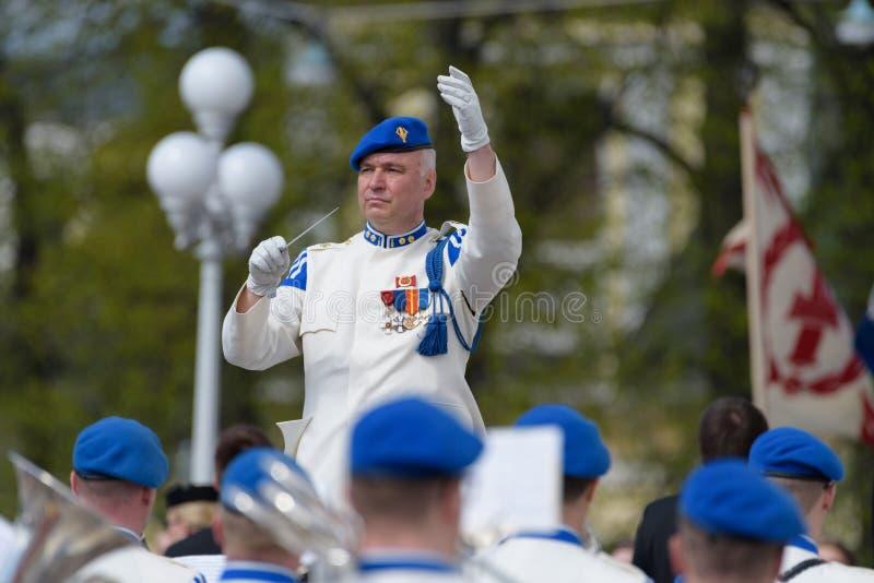 Banda militare di soittokunta di Kaartin che gioca ai funerali di presidente Mauno Koivisto fotografia stock