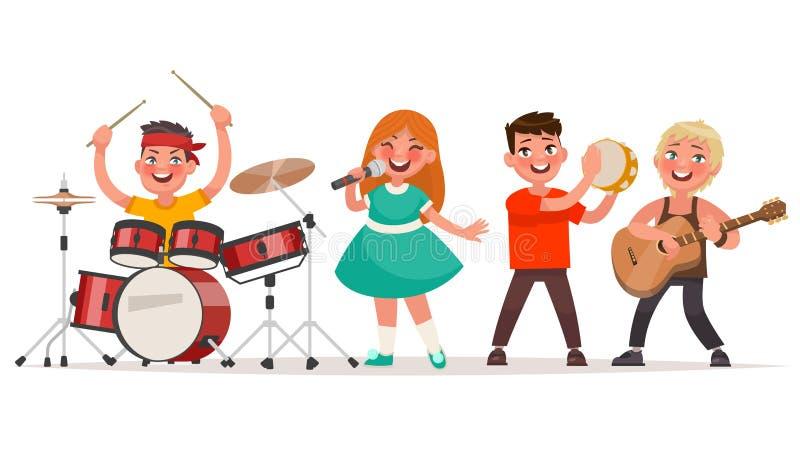 Banda musicale del ` s dei bambini su un fondo bianco Cantante e musici illustrazione vettoriale