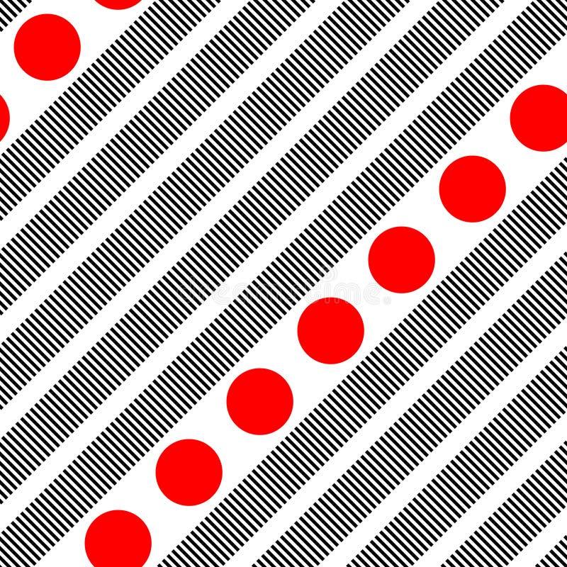 Banda nera diagonale senza cuciture e modello rosso del cerchio illustrazione di stock