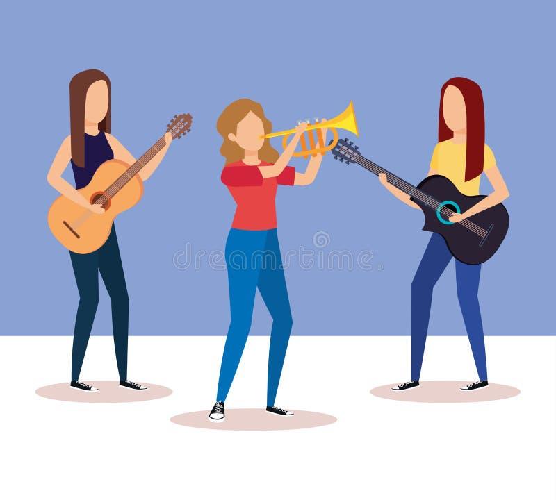 Banda que toca la trompeta y las guitarras stock de ilustración