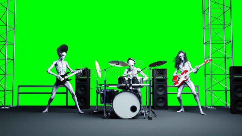 Banda rock straniera divertente Basso, tamburo, chitarra Shaders realistici della pelle e di moto rappresentazione 3d royalty illustrazione gratis