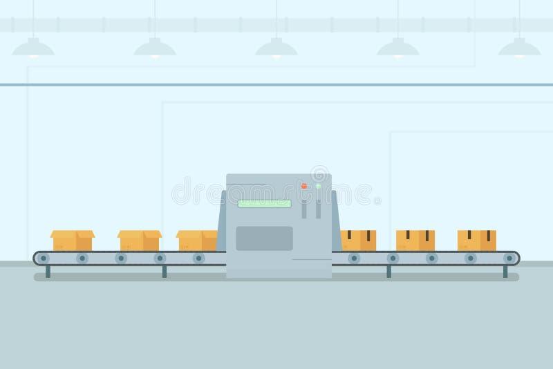 Banda transportadora con las cajas ilustración del vector