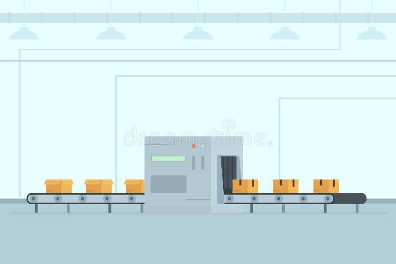 Banda transportadora con las cajas en fábrica ilustración del vector