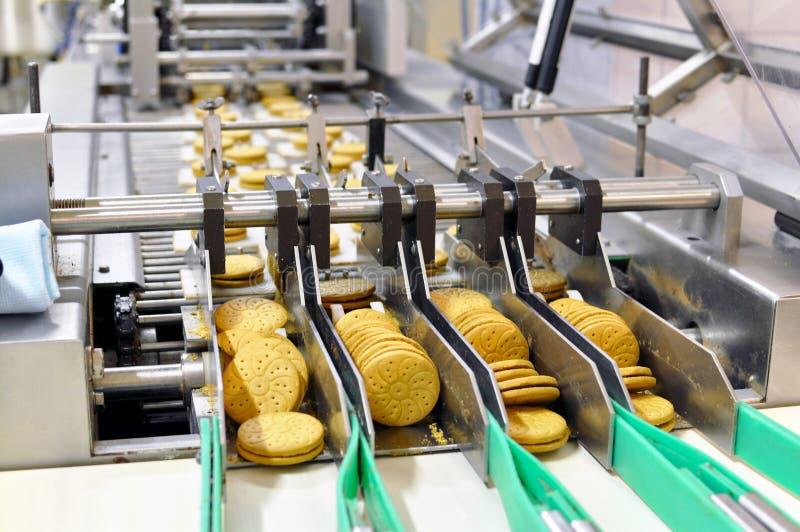 Banda transportadora con las galletas en una fábrica de la comida - equipm de la maquinaria fotografía de archivo libre de regalías