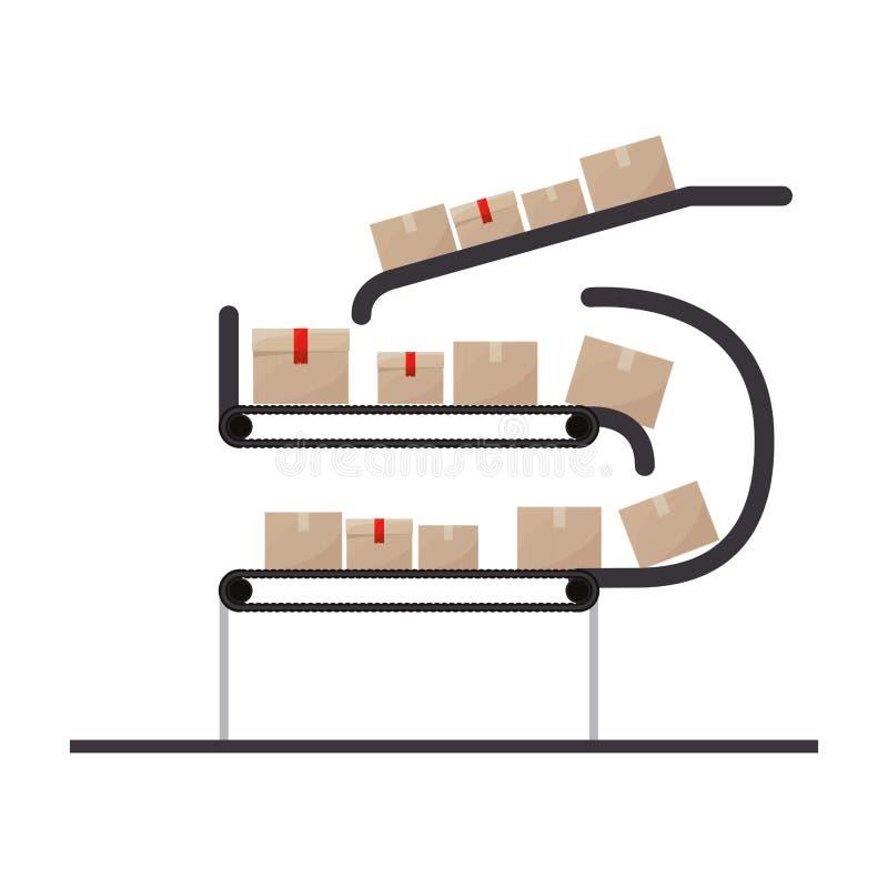 Banda transportadora con los paquetes sellados libre illustration