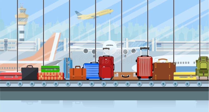 Banda transportadora del aeropuerto con los bolsos del equipaje del pasajero stock de ilustración