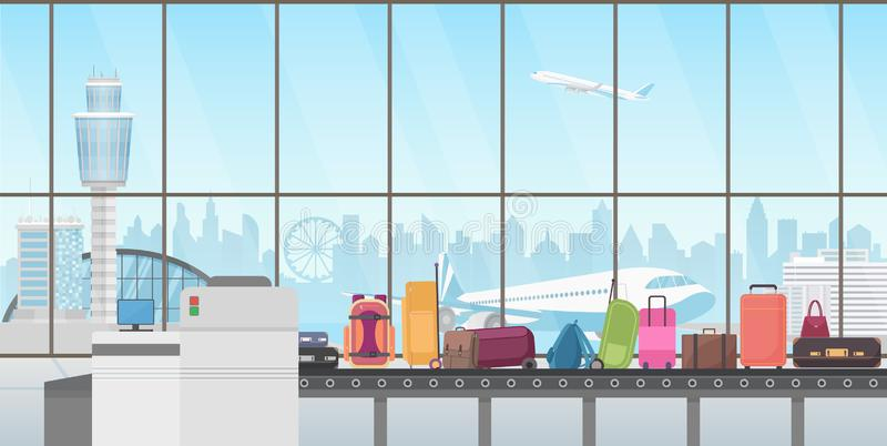 Banda transportadora en pasillo moderno del aeropuerto Ejemplo del vector de la historieta de la demanda de equipaje ilustración del vector