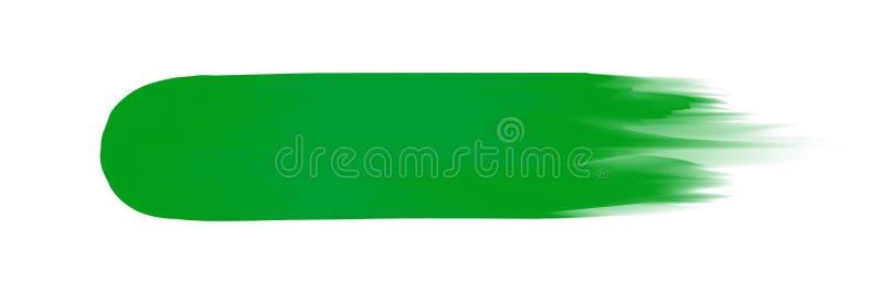 Banda verde dipinta in acquerello su fondo bianco pulito, colpi verdi della spazzola dell'acquerello, pennello dell'illustrazione illustrazione vettoriale