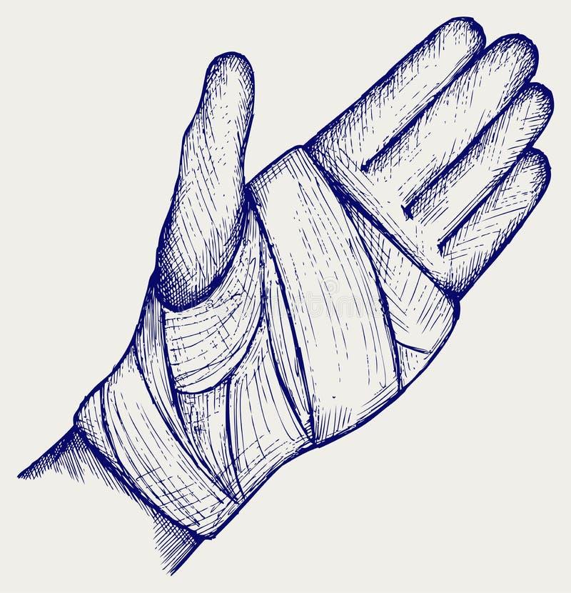 Bandage élastique attaché par main illustration de vecteur