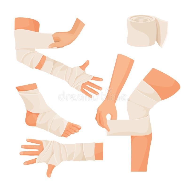Bandage élastique sur les pièces de corps humain blessées réglées illustration stock
