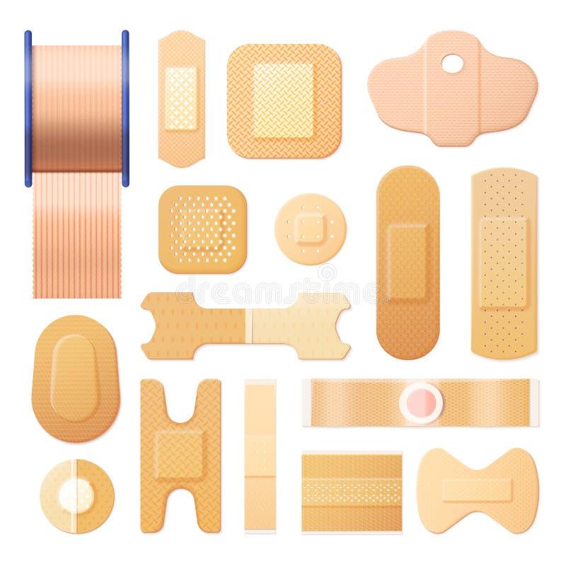 Bandage adhésif élastique, bande réaliste de plâtre illustration de vecteur