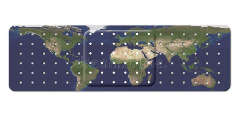 Bandage avec la carte de la terre illustration de vecteur